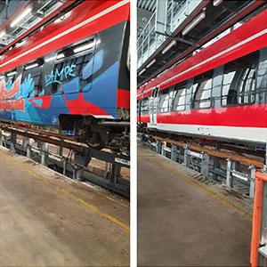 Vorher und nachher Bild der Graffitentfernung bei einem Zug